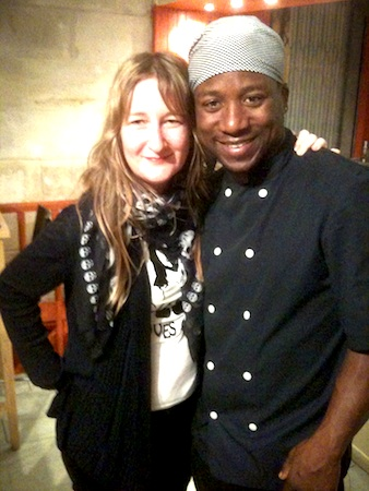rachel with chef of fast plantain, bordeaux, france