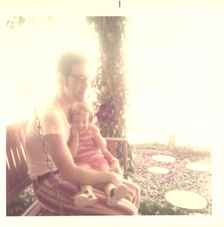rachel and her dad on the backporch 1974