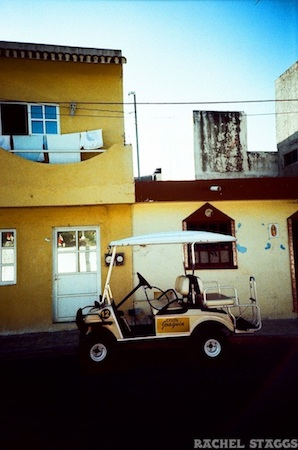 golf cart on isla mujeres captured on film in mexico