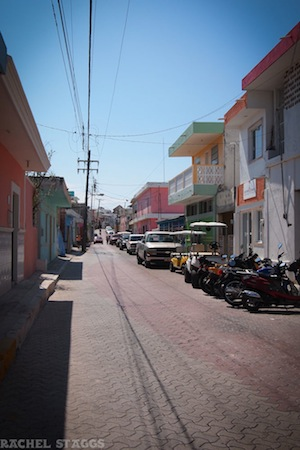 street in isla mujeres, mexico, beautiful buildings