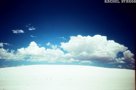 white sands national monument new mexico gypsum sand cloud landscape on film