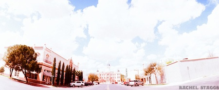 downtown marfa, texas on 35mm panoramic film by rachel staggs