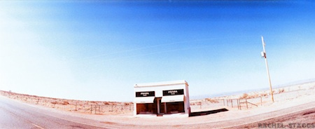 prada marfa art installation on 35mm panoramic film by rachel staggs