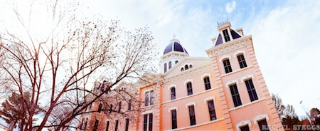 marfa, texas presidio county courthouse 35mm film panoramic by rachel staggs
