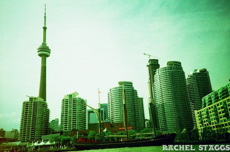 film photograph of toronto skyline ontario canada