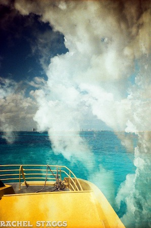 isla mujeres ferry cancun clouds double exposure