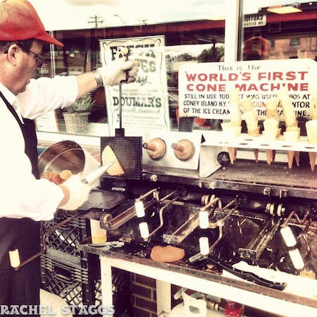 doumars worlds first ice cream cone machine in color